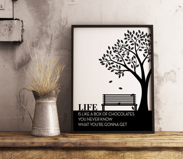 life is like a box of chocolates you never know what you're gonna get life quote forrest gump movie quotable art poster