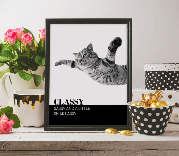 Classy Sassy and a Little Smart Assy Funny Cute Cat Poster Quote Posters Artwork