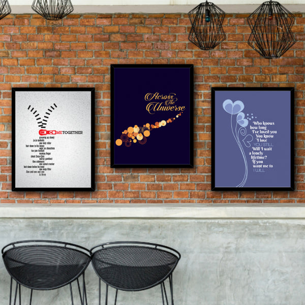 Across the Universe by the Beatles Classic Rock Music Illustration of Song Lyrics Art Print Poster