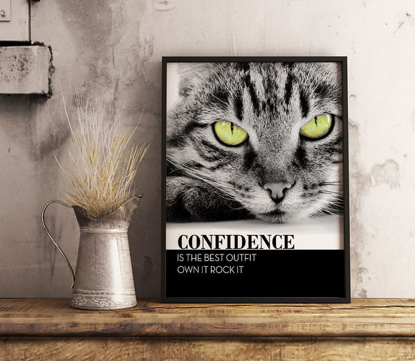 confidence is the best outfit own it rock it cat lovers poster art print decor