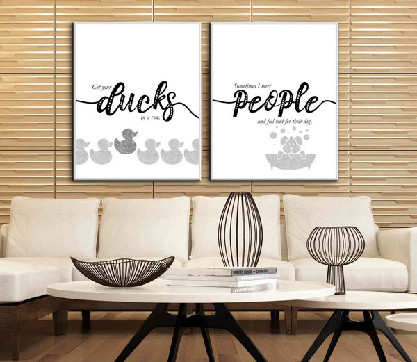 Funny Quote Print Wall Decor - Sometimes I Meet People and Feel Bad for Their Dog