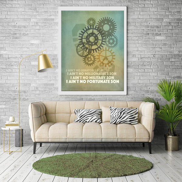 Credence Clearwater Revival - Fortunate Son - Song Lyric Art Print Poster Classic rock Music Wall Decor