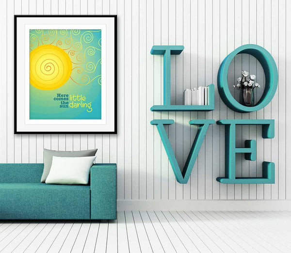the beatles art here comes the sun song lyrics poster print illustration wall hanging decor
