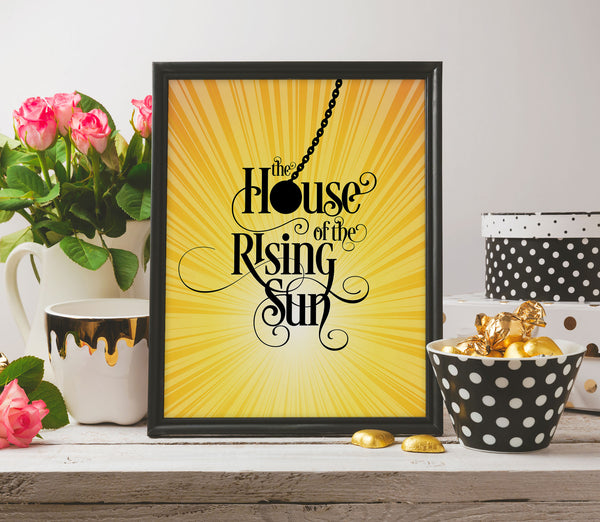 The Animals - House of the Rising Sun - Song Lyric Art Print Poster - Music Quote