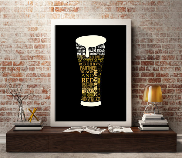 I Drink Alone by George Thorogood Song Lyrics Art Poster Print Wall Decor for Music Enthusiasts