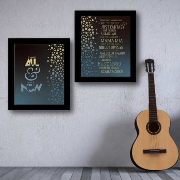I Want it All by Queen Song Lyrics Art Poster Print Wall Art for Music Enthusiasts