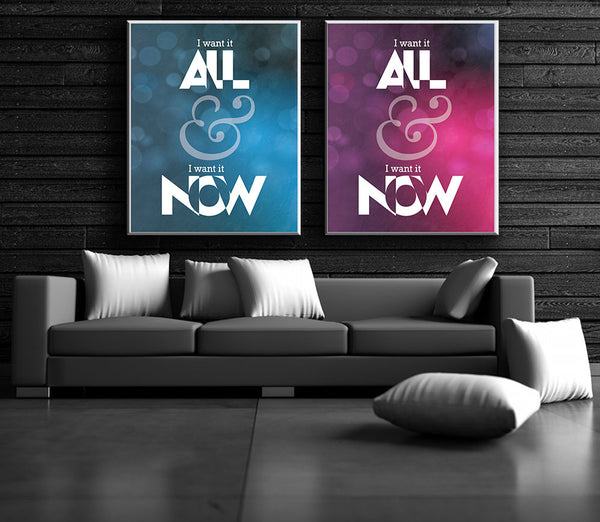 I want it all Queen Song Lyric Art Print Poster Illustration