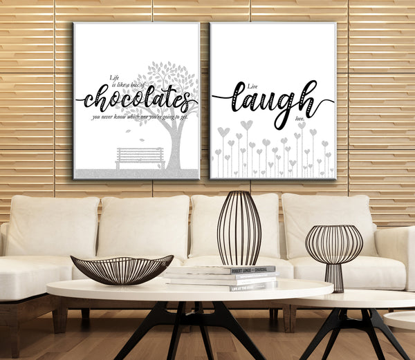 Light-Hearted Wall Quote Art - Live Laugh Love - Family Birthday Gift Print Poster