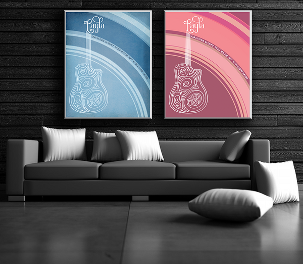 Eric Clapton - Layla - Musical Poster Interpretation - Lyric Wall Art Print