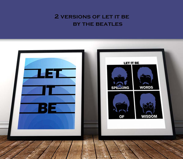 let it be beatles song lyric poster print artwork illustration