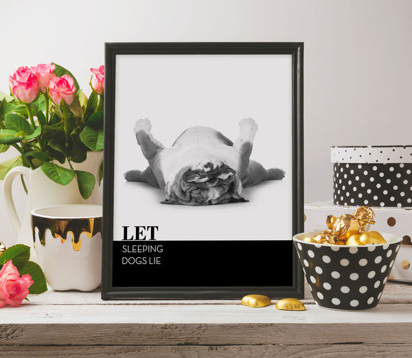 Funny Sarcastic Poster Quotes Black and White Art LET SLEEPING DOGS LIE