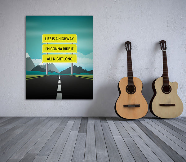 life is a highway tom cochrane song lyrics art print poster artwork canvas plaques