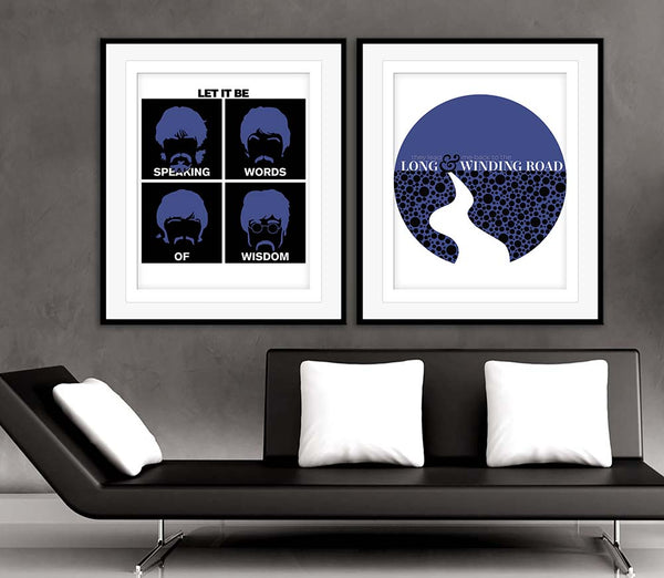 let it be by the beatles music lyric poster print artwork