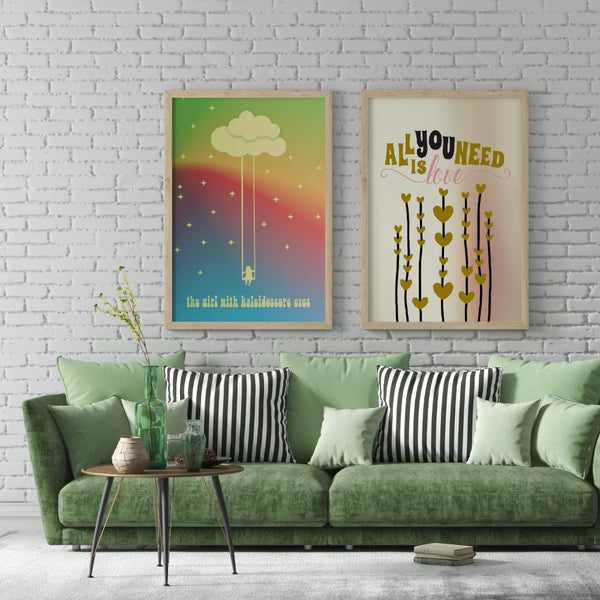 Beatles LUCY IN SKY WITH DIAMONDS Music Lyric Illustration