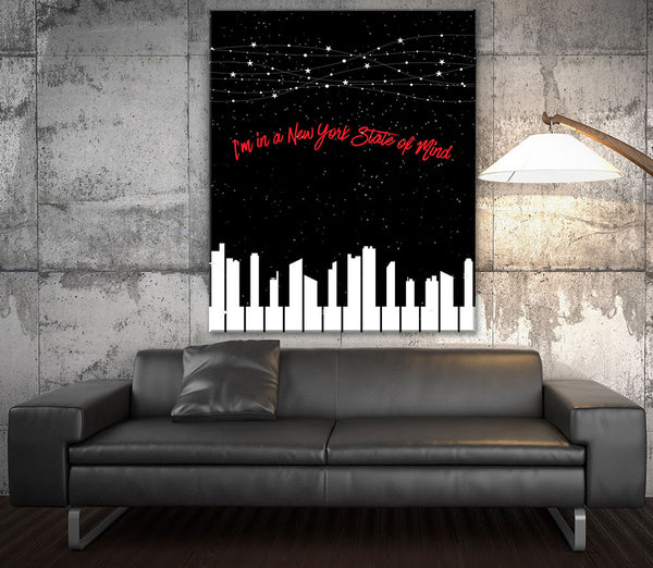 Billy Joel New York State of Mind Song Lyrics Poster Illustration Music Gift
