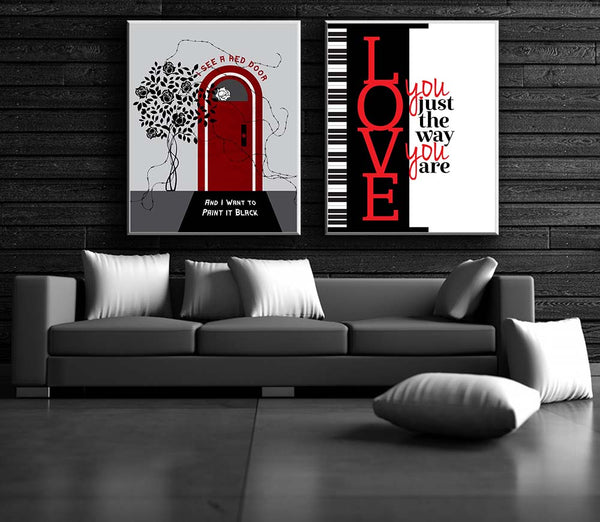 60s Music PAINT IT BLACK Song Lyrics Poster Music Quote