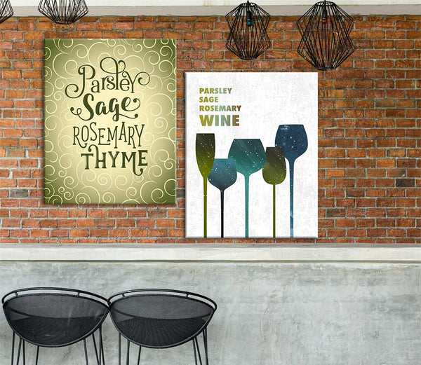 Song Lyrics and Wine Lovers Parsley Sage Rosemary and Wine Funny Wine Print