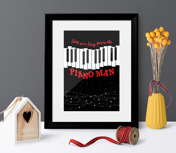 Piano Man by Billy Joel - Song Lyrics Inspired Music Print Poster Wall Decor