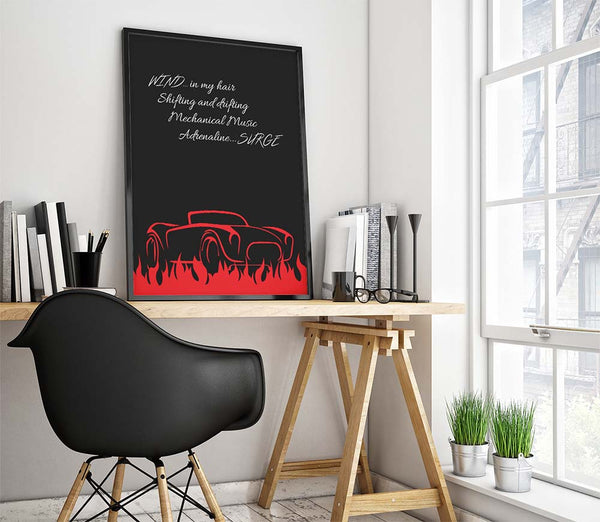 red barchetta by the rush band song lyric artwork print poster
