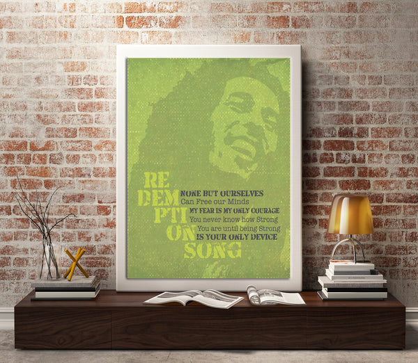 Lyric Reggae Music Poster Wall Print - Redemption Song by Bob Marley
