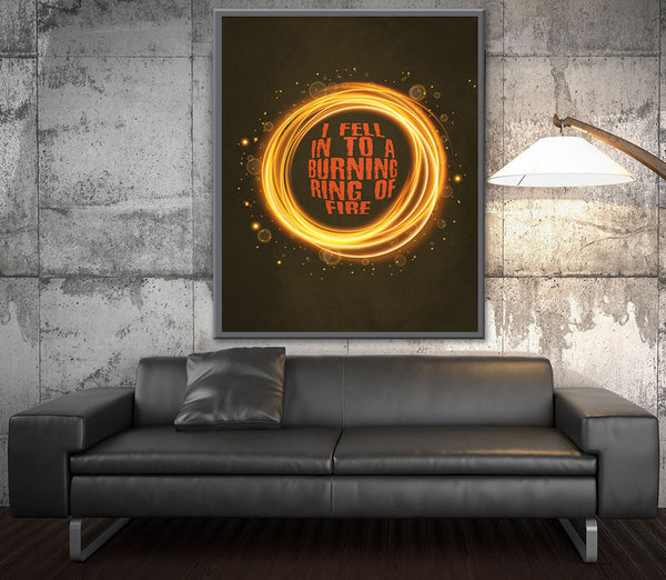 ring of fire johnny cash music lyrics poster print artwork country