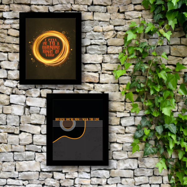 Ring of Fire by Johnny Cash - Country Music Song Lyric Wall Art Print, Poster, Canvas or Plaque