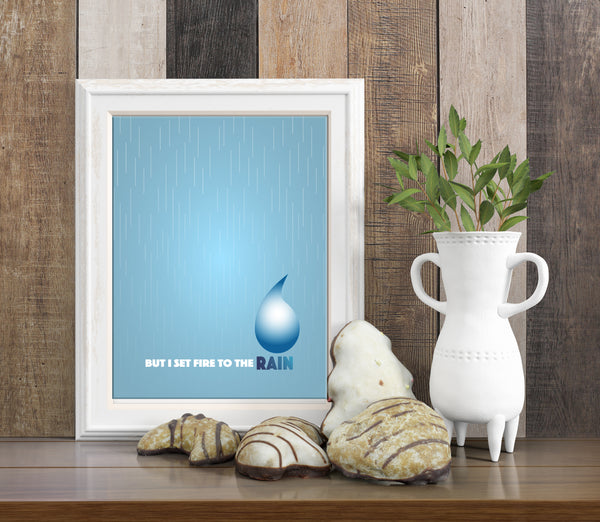 Set Fire to the Rain by Adele Song Lyrics Art Poster Music Print GIft
