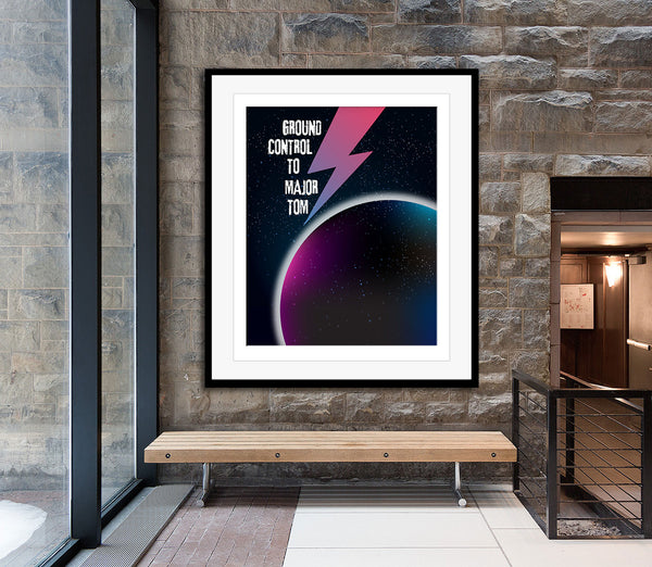 Space Oddity by David Bowie Song Lyrics Inspired Poster
