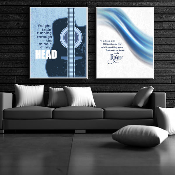 The River by Bruce Springsteen - Song Lyrics Music Wall Art Decor - Classic Rock Poster