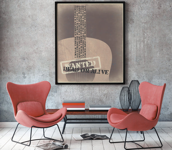 Song Lyric Art Print Classic Rock Music Poster Bon Jovi Wanted Dead or Alive