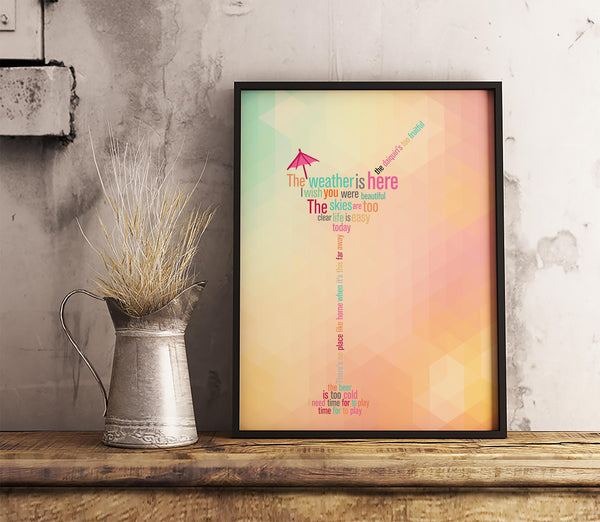The Weather is Here Wish you Were Beautiful Song Lyrics Art Music Poster Wall Decor