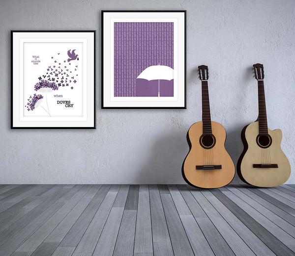 When Doves Cry by Prince Lyric Poster Illustration Custom Original Design