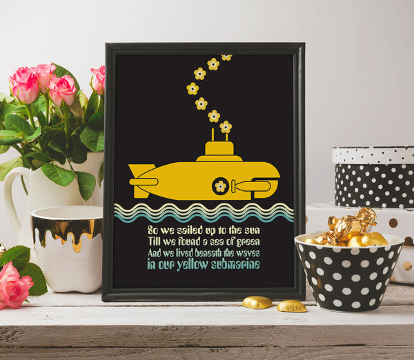 Yellow Submarine by the Beatles Song Lyric Wall Artwork Print Poster