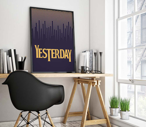 Yesterday by the Beatles Song Lyric Art Poster Print