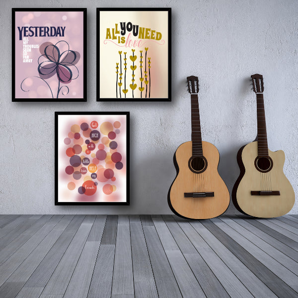 Yesterday by the Beatles Song Lyric Print Wall Art Posters