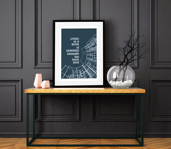 You Belong to the City by Glenn Frey Song Lyrics Art Print Poster Wall Decor Music Quote