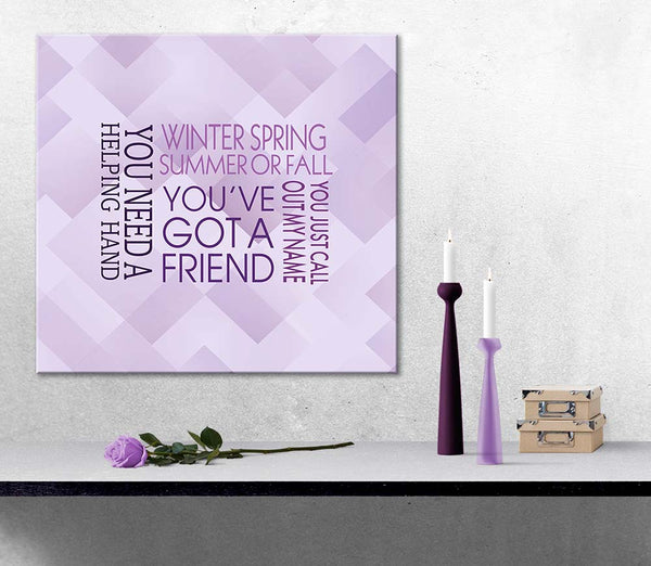 You've Got a Friend by James Taylor Song Lyrics Art Music Poster Wall Decor