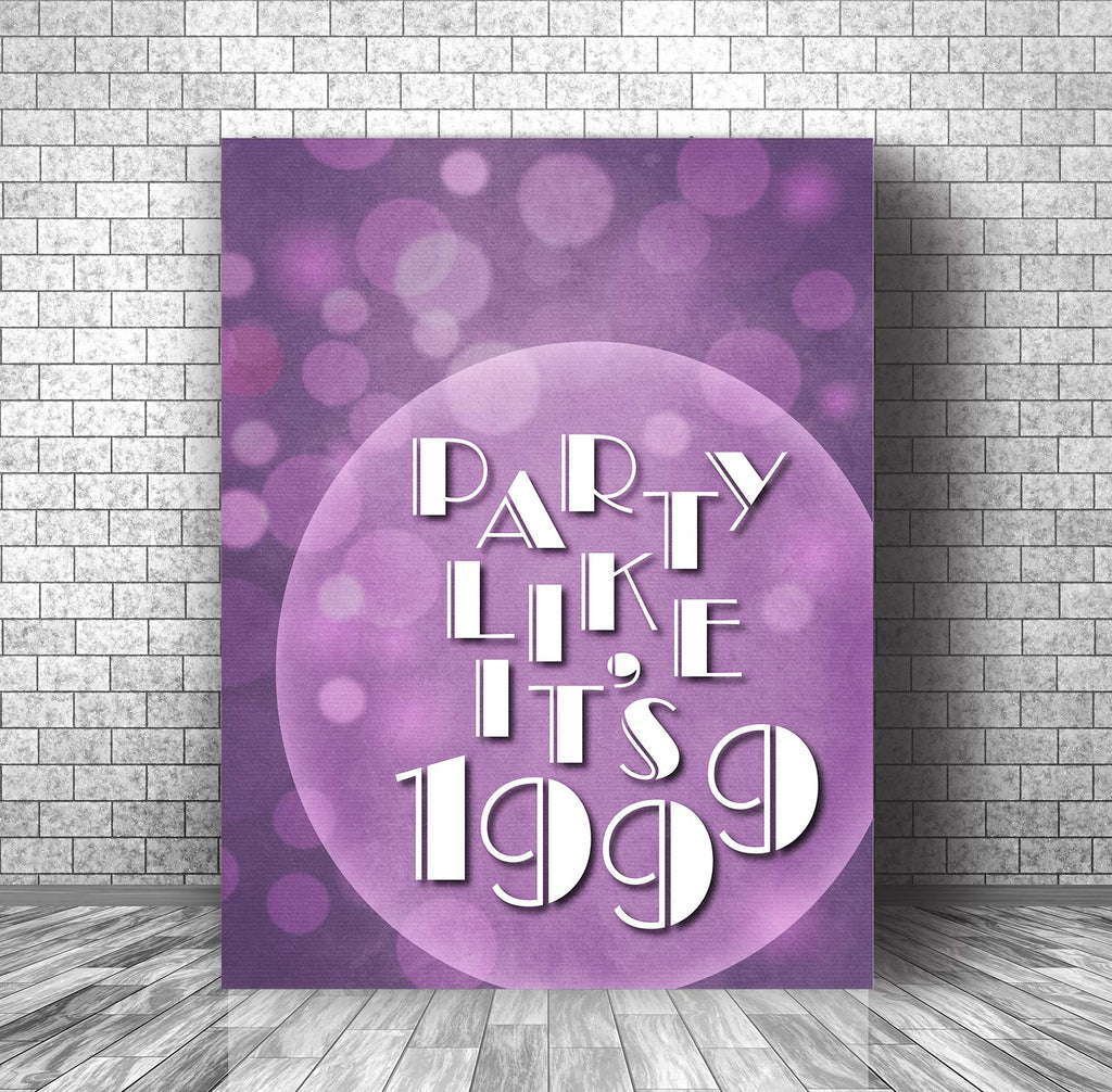 1999 by Prince Song Lyrics Art Print Wall Decor Canvas for Classic Rock Music Enthusiasts