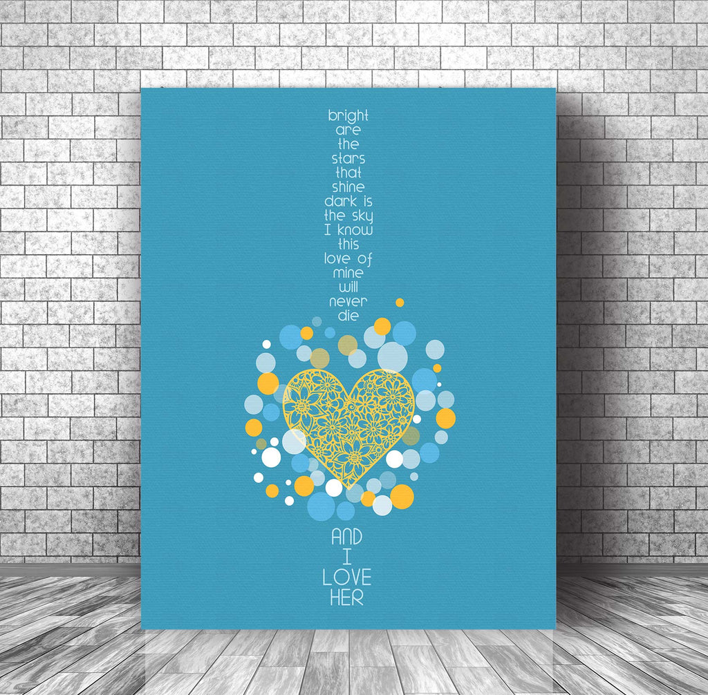 And I Love Her - Beatles - Song Lyrics Art Poster Wall Decor - Wedding Music Quote