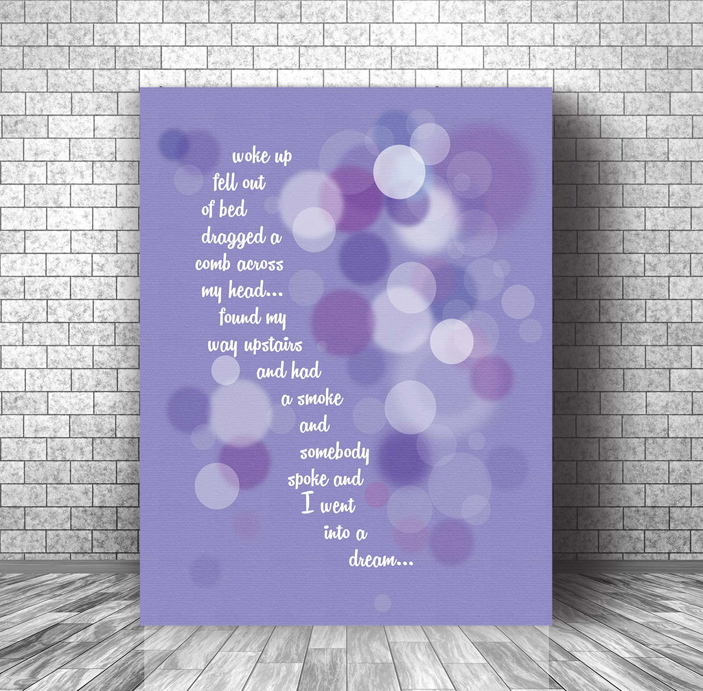 Day in the Life by the Beatles Song Lyric Inspired Music Decor Wall Art for Classic Rock Music Enthusiasts