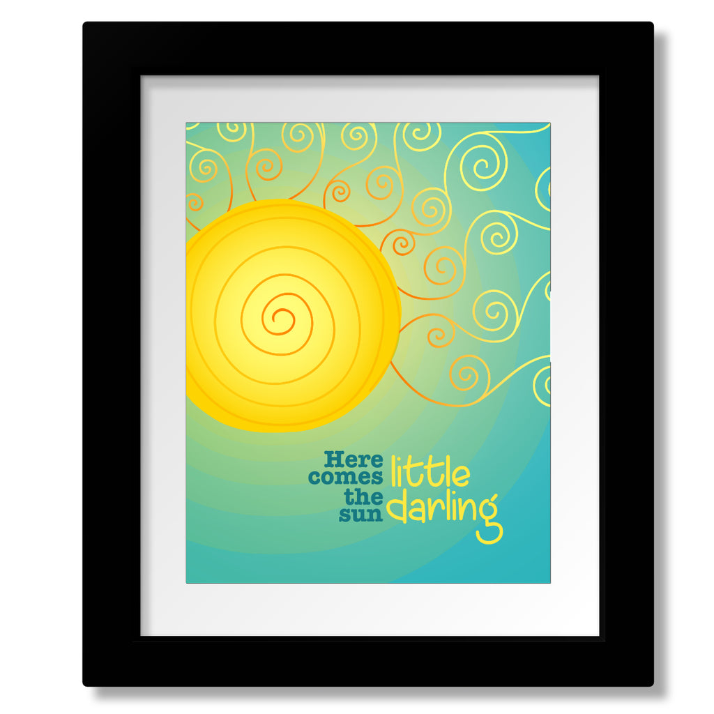 Here Comes the Sun by the Beatles Song Lyric Music Poster Illustration