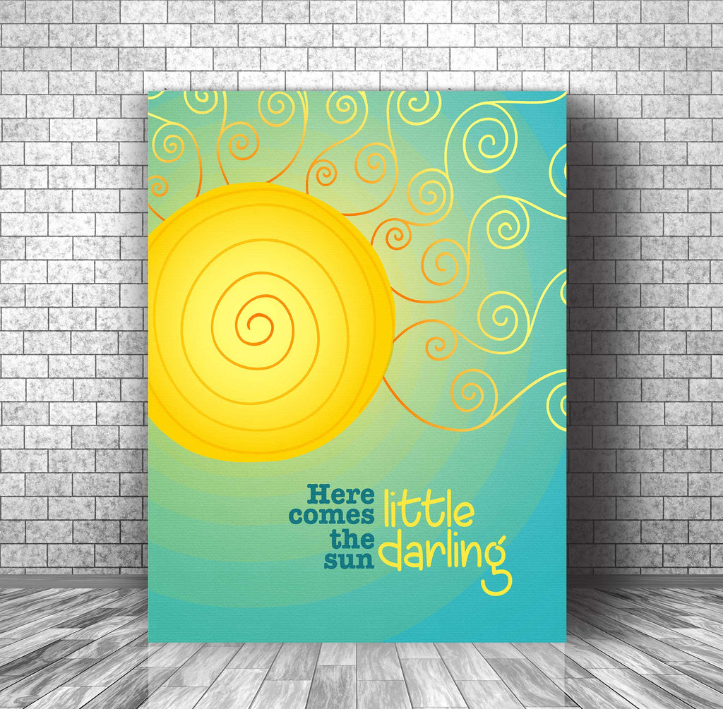 Poster Print Song Lyric Music Quote - Here Comes the Sun by the Beatles