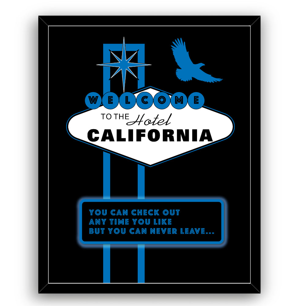 Hotel California by the Eagles Song Lyric Art Print