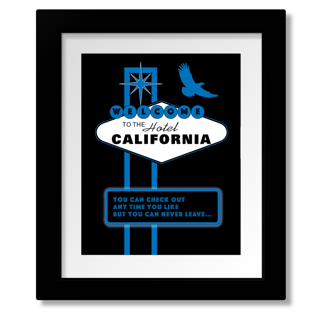 70s Music Poster - Lyric Inspired - Eagles Band - Hotel California