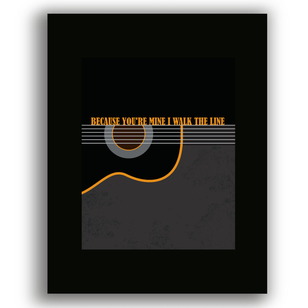 I Walk the Line by Johnny Cash Song Lyric Wall Art Print