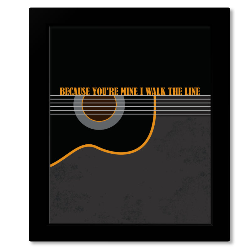 Song Lyrics Country Music - Wall Art Decor - I Walk the Line by Johnny Cash