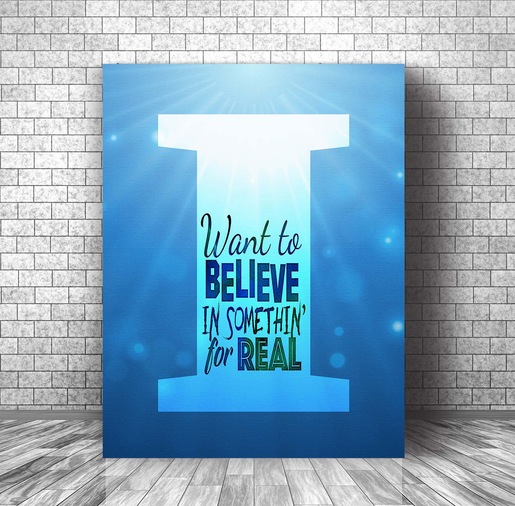Music Lyric Poster Art Illustration - I Want to Believe by Sass Jordan