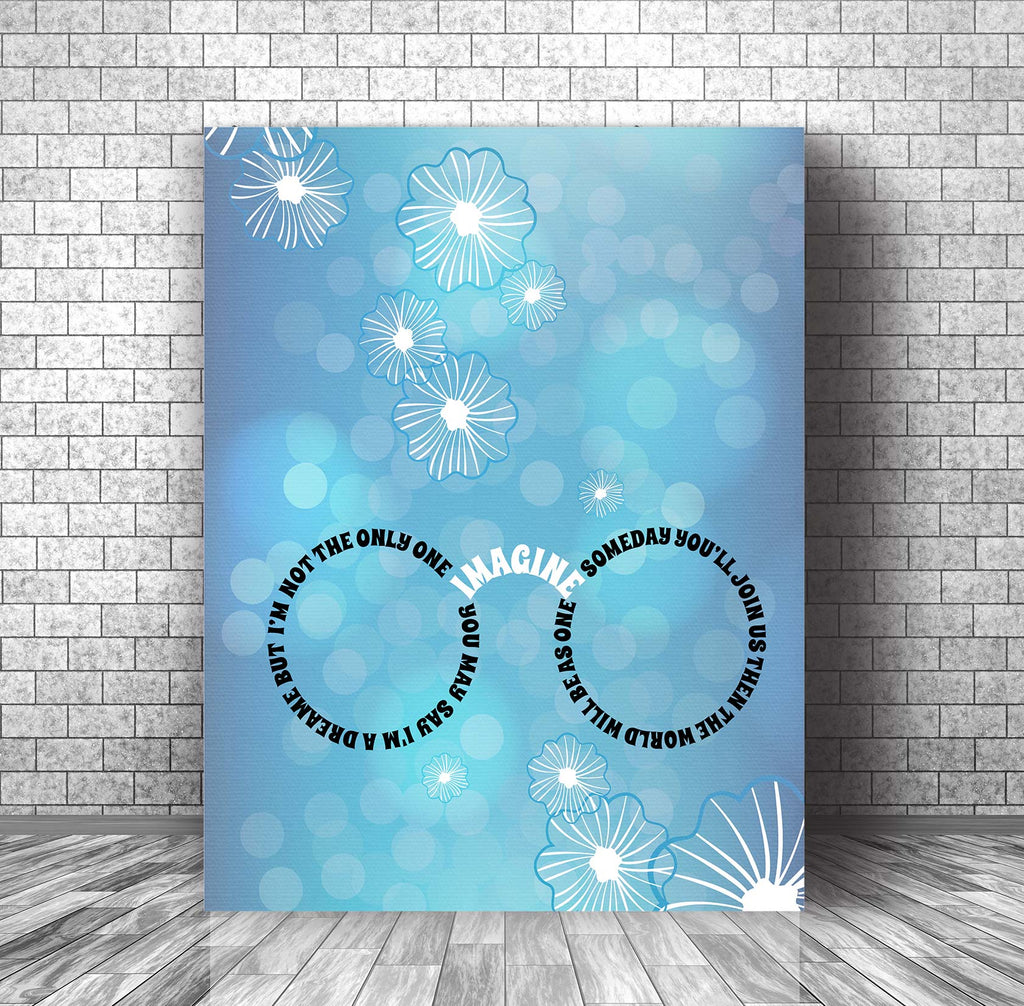 Imagine by John Lennon Song Lyric Music Poster Wall Decor Illustration