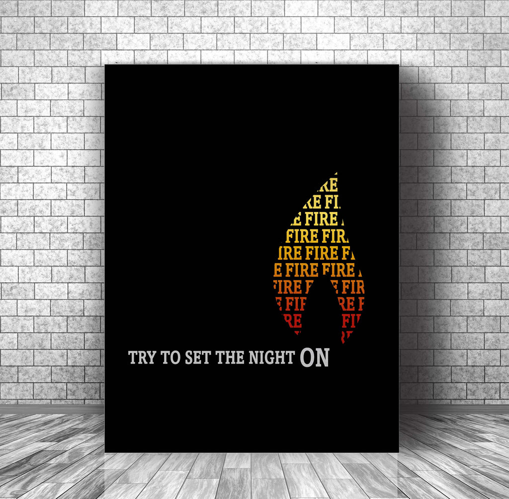 Illustrated Song Lyric Music Poster Art - Light my Fire by The Doors