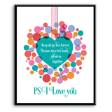 PS I Love You by Beatles - Abstract Lyric Inspired Music Poster Print Art